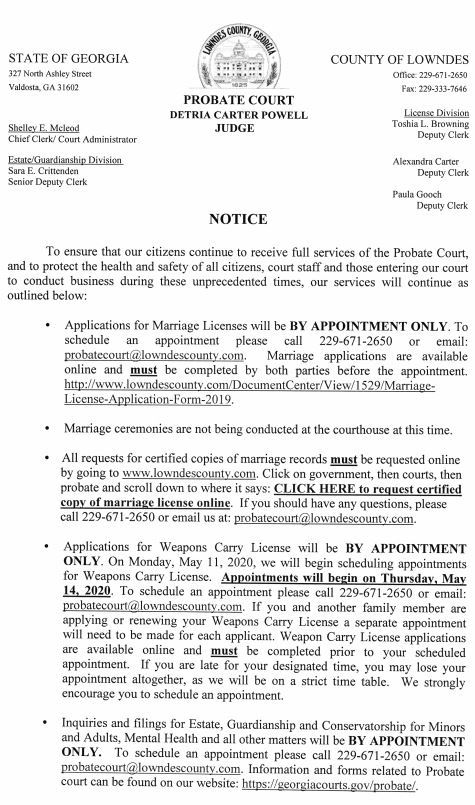 Probate Court Notice