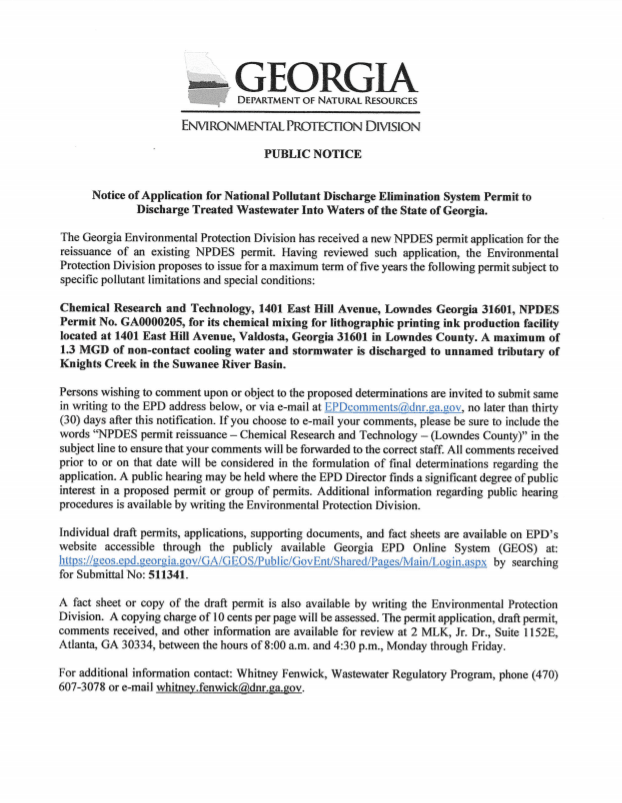 Public Notice - Notice of Application for National Pollutant Discharge Elimination System Permit