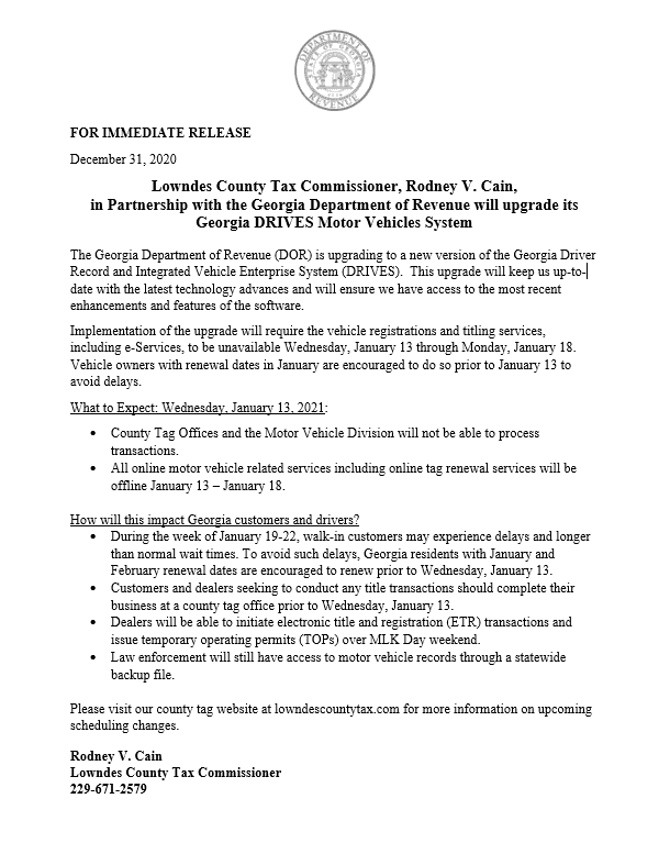 Press Release - DOR will Upgrade GA DRIVES Motor Vehicles System