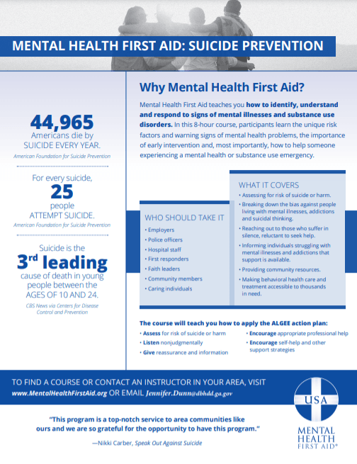 Mental Health First Aid Flyer